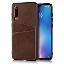 Simple Calf Card Slots Mobile Phone Back Cover for Xiaomi Mi 9 - Coffee