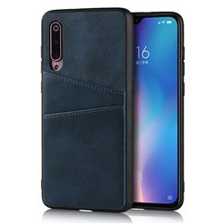Simple Calf Card Slots Mobile Phone Back Cover for Xiaomi Mi 9 - Blue