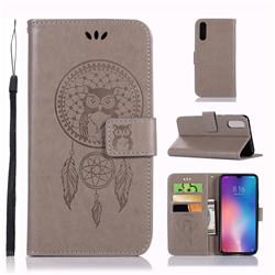 Intricate Embossing Owl Campanula Leather Wallet Case for Xiaomi Mi 9 - Grey