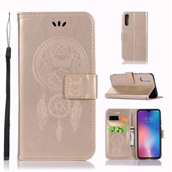 Intricate Embossing Owl Campanula Leather Wallet Case for Xiaomi Mi 9 - Champagne