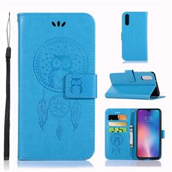Intricate Embossing Owl Campanula Leather Wallet Case for Xiaomi Mi 9 - Blue