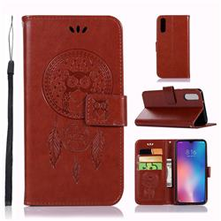 Intricate Embossing Owl Campanula Leather Wallet Case for Xiaomi Mi 9 - Brown