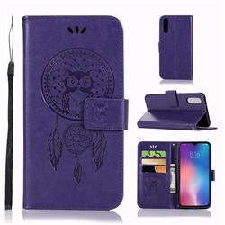 Intricate Embossing Owl Campanula Leather Wallet Case for Xiaomi Mi 9 - Purple