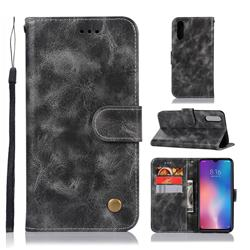 Luxury Retro Leather Wallet Case for Xiaomi Mi 9 - Gray