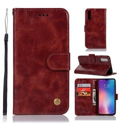 Luxury Retro Leather Wallet Case for Xiaomi Mi 9 - Wine Red