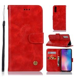Luxury Retro Leather Wallet Case for Xiaomi Mi 9 - Red