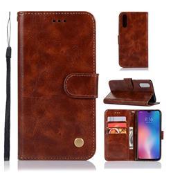 Luxury Retro Leather Wallet Case for Xiaomi Mi 9 - Brown