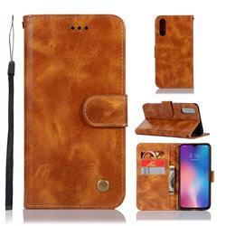 Luxury Retro Leather Wallet Case for Xiaomi Mi 9 - Golden