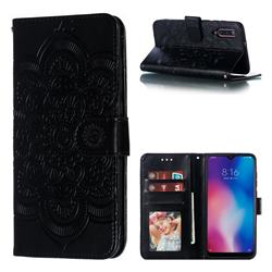 Intricate Embossing Datura Solar Leather Wallet Case for Xiaomi Mi 9 - Black
