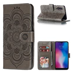 Intricate Embossing Datura Solar Leather Wallet Case for Xiaomi Mi 9 - Gray
