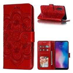 Intricate Embossing Datura Solar Leather Wallet Case for Xiaomi Mi 9 - Red