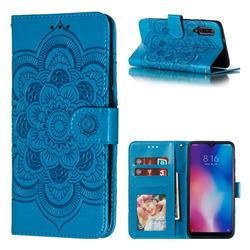 Intricate Embossing Datura Solar Leather Wallet Case for Xiaomi Mi 9 - Blue