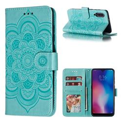 Intricate Embossing Datura Solar Leather Wallet Case for Xiaomi Mi 9 - Green