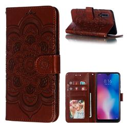 Intricate Embossing Datura Solar Leather Wallet Case for Xiaomi Mi 9 - Brown