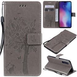 Embossing Butterfly Tree Leather Wallet Case for Xiaomi Mi 9 - Grey
