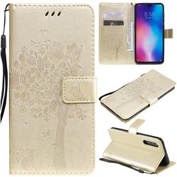 Embossing Butterfly Tree Leather Wallet Case for Xiaomi Mi 9 - Champagne