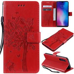 Embossing Butterfly Tree Leather Wallet Case for Xiaomi Mi 9 - Red