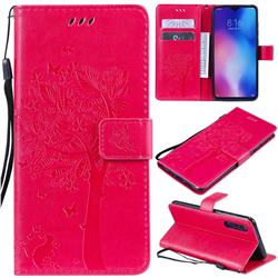 Embossing Butterfly Tree Leather Wallet Case for Xiaomi Mi 9 - Rose