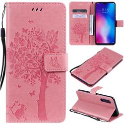 Embossing Butterfly Tree Leather Wallet Case for Xiaomi Mi 9 - Pink