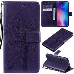 Embossing Butterfly Tree Leather Wallet Case for Xiaomi Mi 9 - Purple
