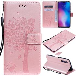 Embossing Butterfly Tree Leather Wallet Case for Xiaomi Mi 9 - Rose Pink