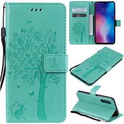 Embossing Butterfly Tree Leather Wallet Case for Xiaomi Mi 9 - Cyan