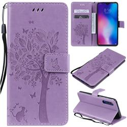 Embossing Butterfly Tree Leather Wallet Case for Xiaomi Mi 9 - Violet