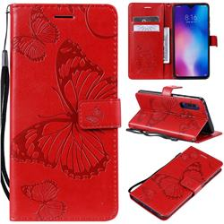 Embossing 3D Butterfly Leather Wallet Case for Xiaomi Mi 9 - Red