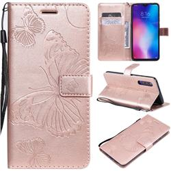 Embossing 3D Butterfly Leather Wallet Case for Xiaomi Mi 9 - Rose Gold