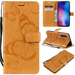 Embossing 3D Butterfly Leather Wallet Case for Xiaomi Mi 9 - Yellow
