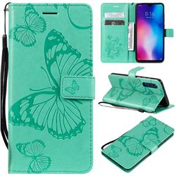 Embossing 3D Butterfly Leather Wallet Case for Xiaomi Mi 9 - Green