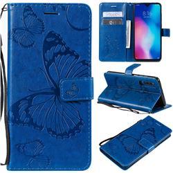 Embossing 3D Butterfly Leather Wallet Case for Xiaomi Mi 9 - Blue