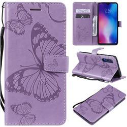 Embossing 3D Butterfly Leather Wallet Case for Xiaomi Mi 9 - Purple