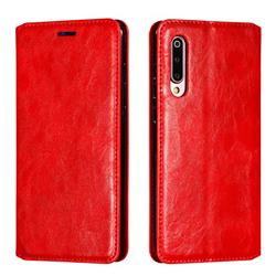 Retro Slim Magnetic Crazy Horse PU Leather Wallet Case for Xiaomi Mi 9 - Red