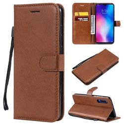 Retro Greek Classic Smooth PU Leather Wallet Phone Case for Xiaomi Mi 9 - Brown