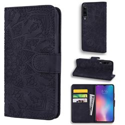 Retro Embossing Mandala Flower Leather Wallet Case for Xiaomi Mi 9 - Black