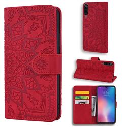 Retro Embossing Mandala Flower Leather Wallet Case for Xiaomi Mi 9 - Red