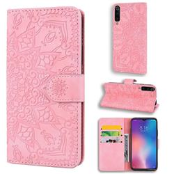 Retro Embossing Mandala Flower Leather Wallet Case for Xiaomi Mi 9 - Pink