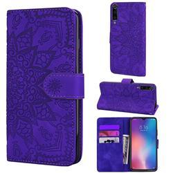 Retro Embossing Mandala Flower Leather Wallet Case for Xiaomi Mi 9 - Purple