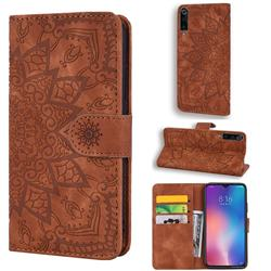 Retro Embossing Mandala Flower Leather Wallet Case for Xiaomi Mi 9 - Brown