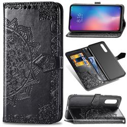 Embossing Imprint Mandala Flower Leather Wallet Case for Xiaomi Mi 9 - Black