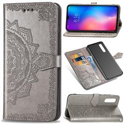 Embossing Imprint Mandala Flower Leather Wallet Case for Xiaomi Mi 9 - Gray