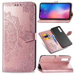 Embossing Imprint Mandala Flower Leather Wallet Case for Xiaomi Mi 9 - Rose Gold