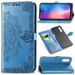 Embossing Imprint Mandala Flower Leather Wallet Case for Xiaomi Mi 9 - Blue