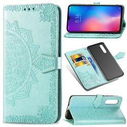 Embossing Imprint Mandala Flower Leather Wallet Case for Xiaomi Mi 9 - Green