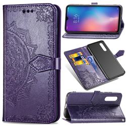 Embossing Imprint Mandala Flower Leather Wallet Case for Xiaomi Mi 9 - Purple