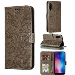 Intricate Embossing Lace Jasmine Flower Leather Wallet Case for Xiaomi Mi 9 - Gray