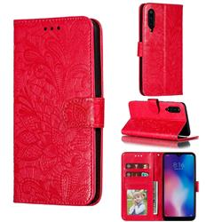 Intricate Embossing Lace Jasmine Flower Leather Wallet Case for Xiaomi Mi 9 - Red