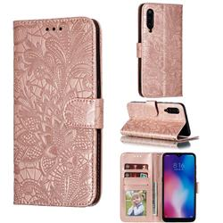 Intricate Embossing Lace Jasmine Flower Leather Wallet Case for Xiaomi Mi 9 - Rose Gold