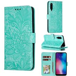 Intricate Embossing Lace Jasmine Flower Leather Wallet Case for Xiaomi Mi 9 - Green